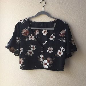 Forever 21 | Floral Cropped Blouse | Black